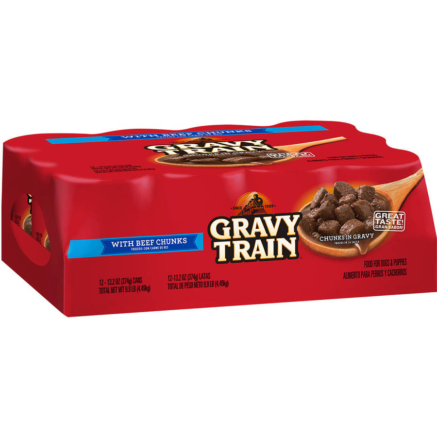 Gravy Train Chunks in Gravy with Beef Chunks Wet Dog Food, Pack of Twelve 13.2-Ounce Cans