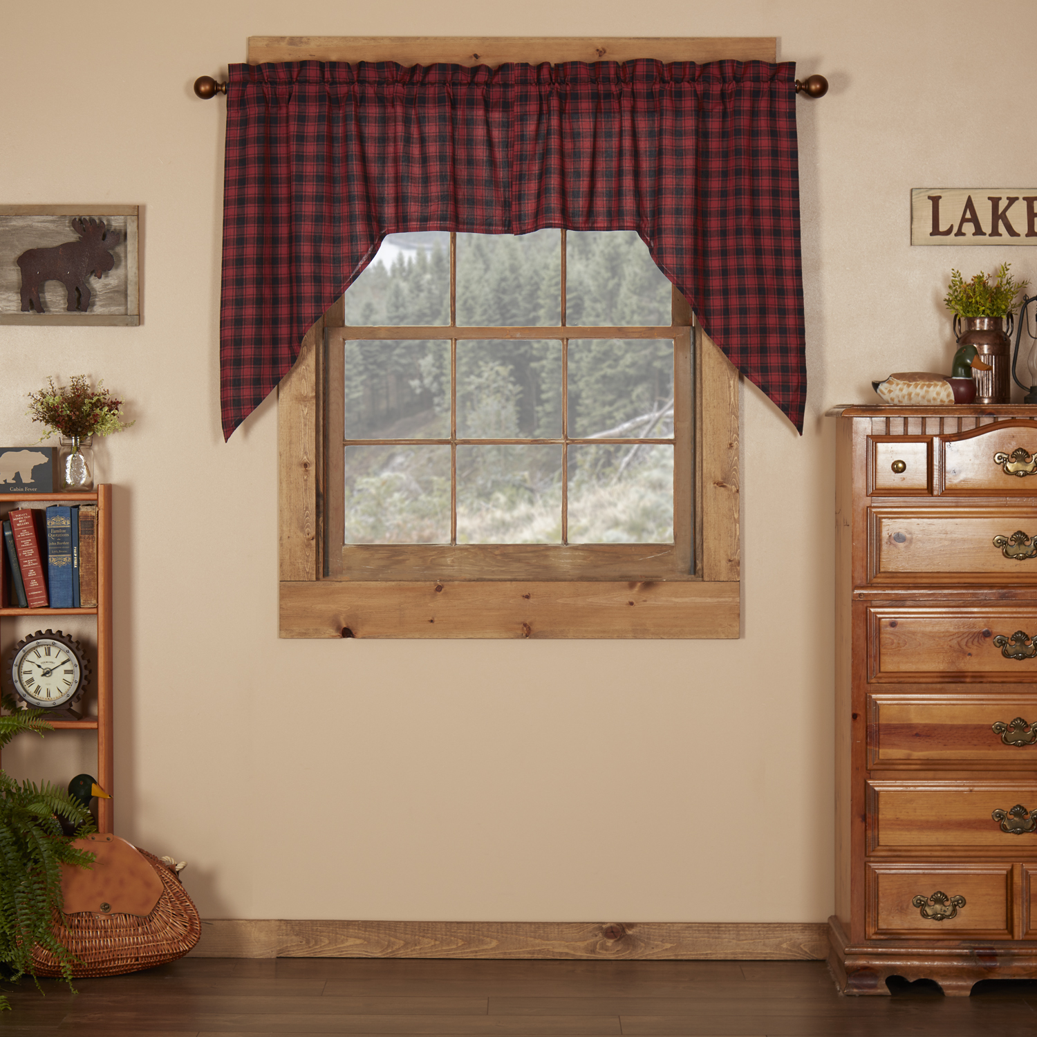 Chili Pepper Red Rustic Lodge Kitchen Curtains Shasta Cabin Rod Pocket Cotton Hanging Loops Buffalo Check Swag Pair Walmart Com Walmart Com