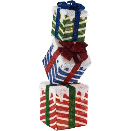 new concept b90be 1b90f Holiday Time 42-Inch Light-Up Stacked Gift Boxes with 70 Lights, Indoor or  Outdoor Use
