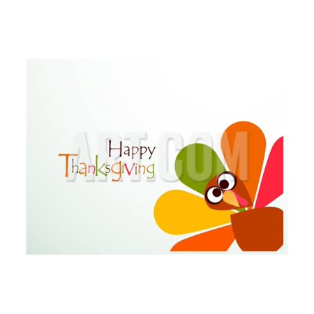 Beautiful, Colorful Cartoon of Turkey Bird for Happy Thanksgiving Celebration, Can Be Use as Flyer, Print Wall Art By aispl