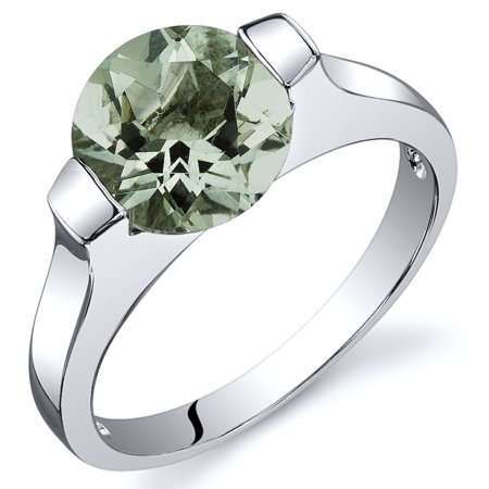 1.75 Ct Bezel Set Green Amethyst Engagement Ring in Rhodium-Plated Sterling Silver - Glow In The Dark Engagement Ring
