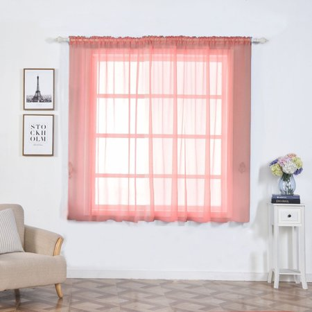Efavormart 2 Panels Sheer Organza Window Drapery with Rod Pocket Window Treatment Curtain Panels For Window Decoration 52