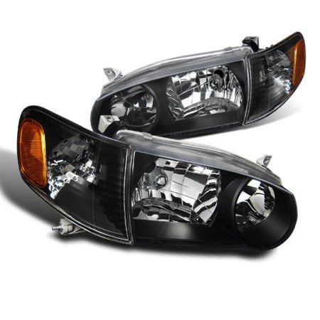 Spec-D Tuning 2LCLH-COR01JM-DP Toyota Corolla JDM Crystal Black Headlights With Amber Corner Signal Lights