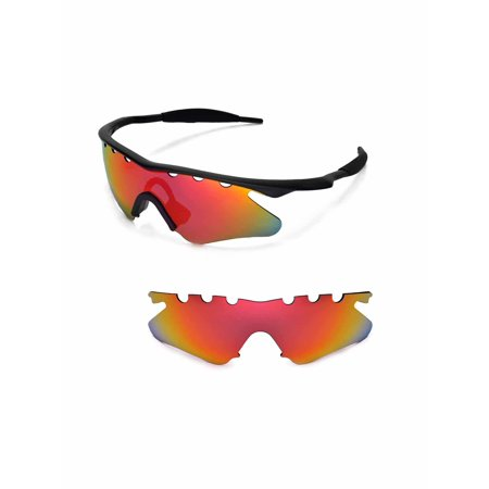Walleva Fire Red Polarized Vented Replacement Lenses for Oakley M ...
