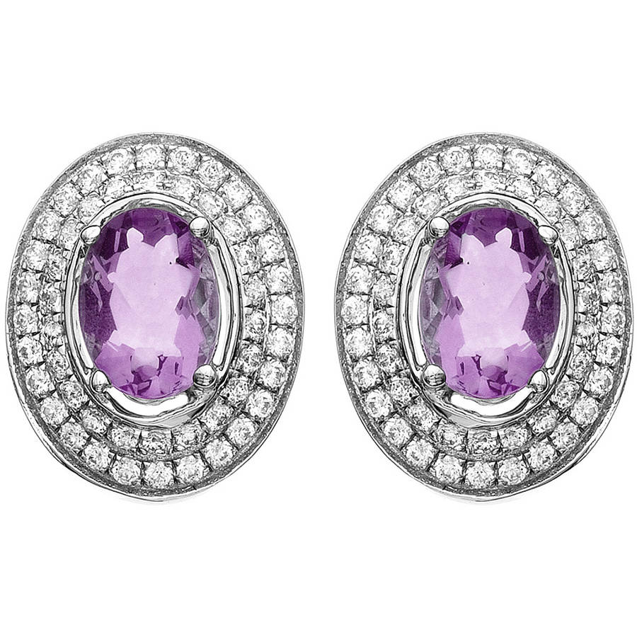 5th & Main Platinum-Plated Sterling Silver Oval-Cut Amethyst Pave CZ Earrings