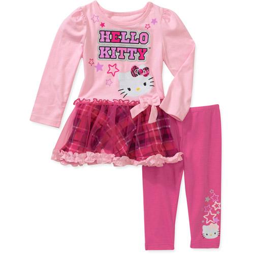 Hello Kitty Baby Girls' 2 Piece Plaid Tunic and legging Set