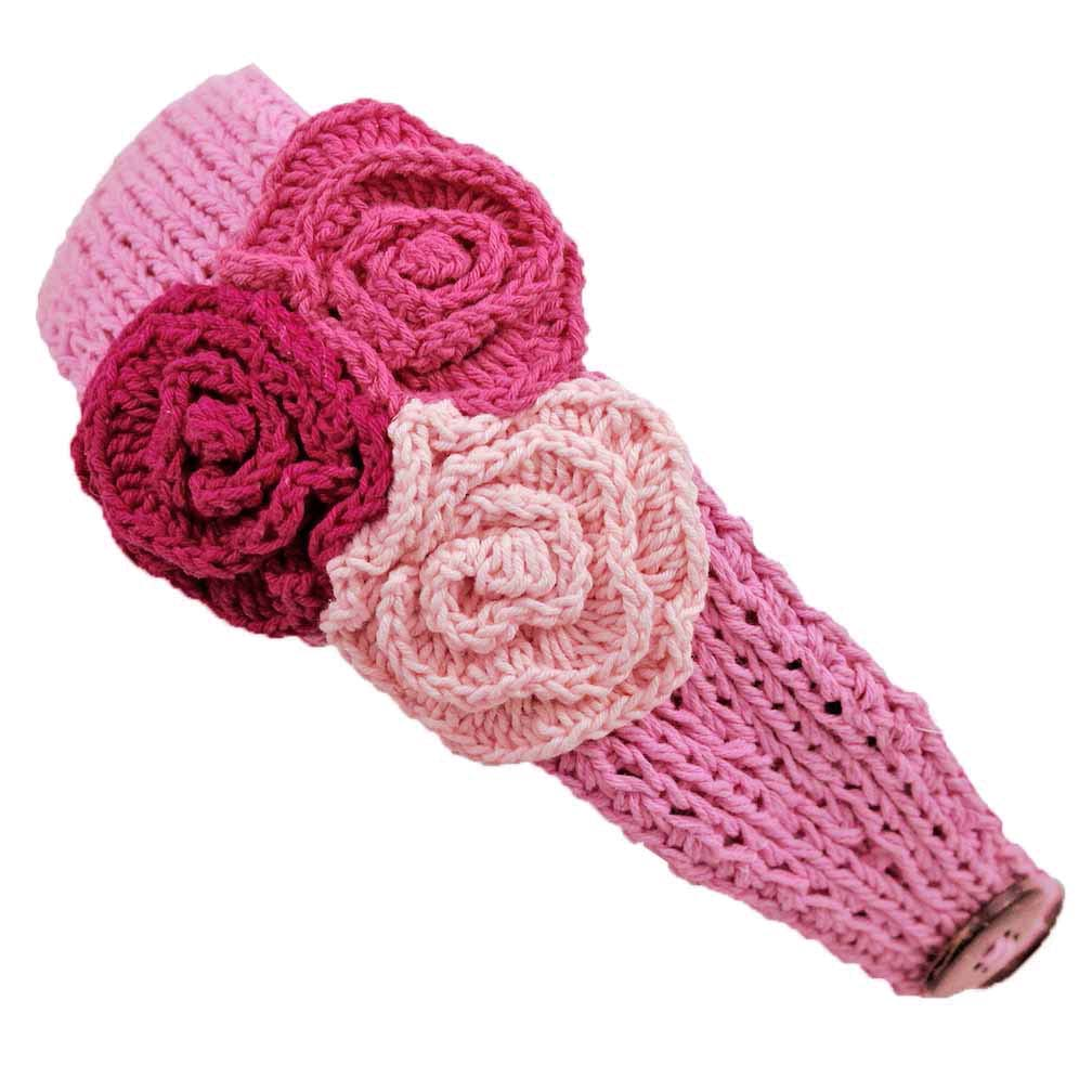 Luxury Divas Crochet Headband With Three Knit Flowers