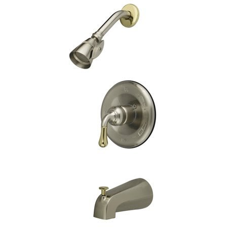Kingston Brass GKB1639 Water Saving Magellan Tub & Shower Faucet Combination with 1.5GPM Shower Head and Lever Handle, Satin Nickel with Polished Brass Trim