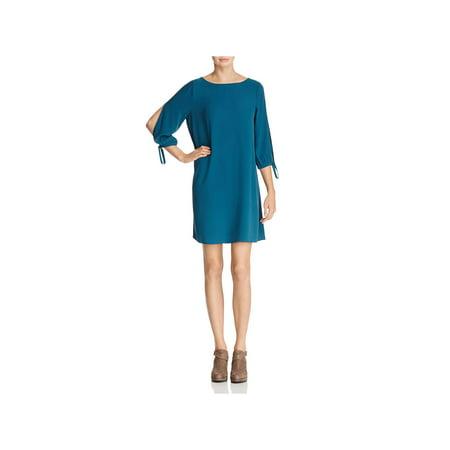 (Eileen Fisher Womens Silk Tie Sleeve Cocktail Dress)