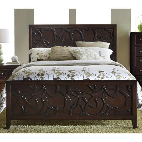 Links Contemporary King Bed Cherry/Chocolate