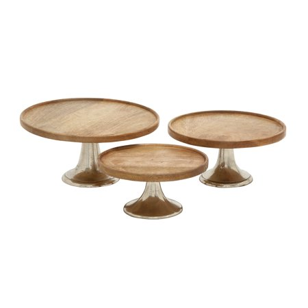 Decmode Modern 14, 12, and 10 Inch Brown Wood and Silver Metal Cake Stands - Set of 3