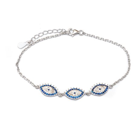 Sterling Silver Royal Blue Cz Evil Eye Bracelet