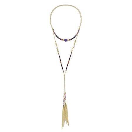 Long Lariat - Lariat Wrap Around Purple Stone & Brass Beads Long Multi-Wear Necklace