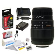 Sigma 70-300mm f/4-5.6 APO DG Macro Motorized Telephoto Zoom Lens for Nikon D40 D40x D60 D3000 D5000 with  EN-EL9 2000MAH, 1 Hour AC/DC Battery Charger, Cleaning Kit