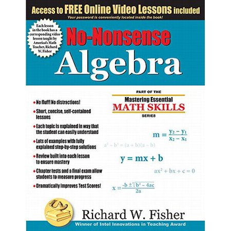 No-Nonsense Algebra : Part of the Mastering Essential Math Skills (Summer Math Skills Sharpener Algebra 1 Answers)