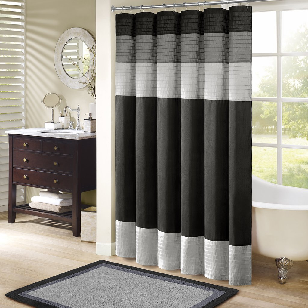 MP70 246 Amherst Shower Curtain 72x72 Black72x72 Set Includes 1 By Madison Park