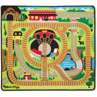 """Melissa & Doug Round the Rails Train Rug with 3 Linking Wooden Train Cars, 39"""" x 36"""""""
