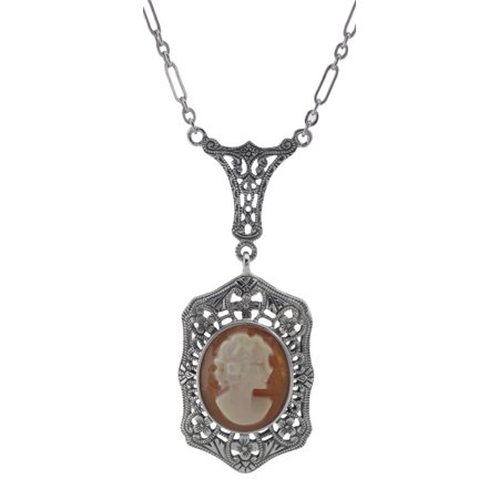 Hand Carved Italian Shell Cameo Filigree Necklace - Sterling Silver