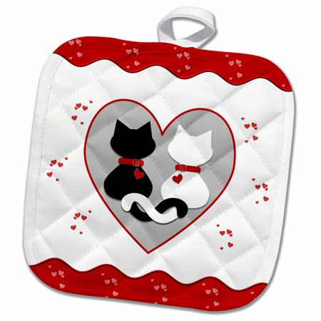 3dRose Cute Red Hearts Valentine Cat Couple - Pot Holder, 8 by - Cute Coiples
