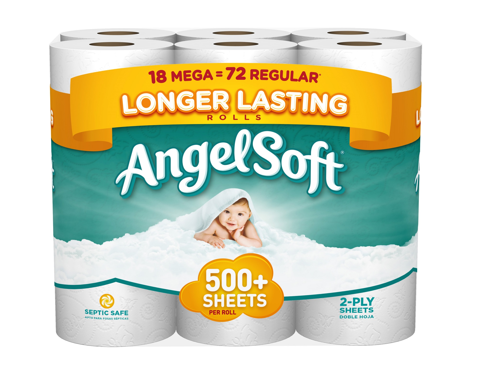 Angel Soft Toilet Paper, 18 Mega Rolls, Bath Tissue by Georgia Pacific