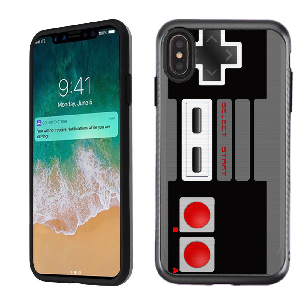For Apple iPhone XS Max Case, OneToughShield ® Dual Layer ShockProof Protector Phone Case Cover with Brushed Texture - Game Controller