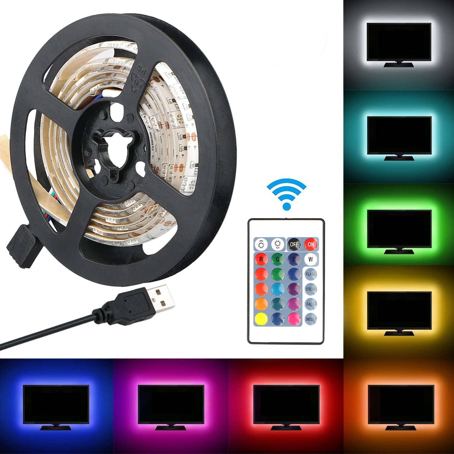 LED TV Backlight Strip, RGB Waterproof 5050 SMD Flexible LED Strip Light 1M 24keys Remote Power for HDTV Bias lighting Flat Screen TV, LCD, PC, Desktop Monitors