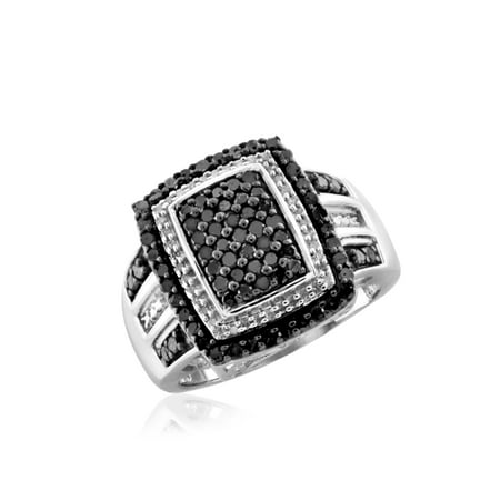 1.00 CTW Round cut Black & White Diamond Rectangle Shape Sterling Silver Ring