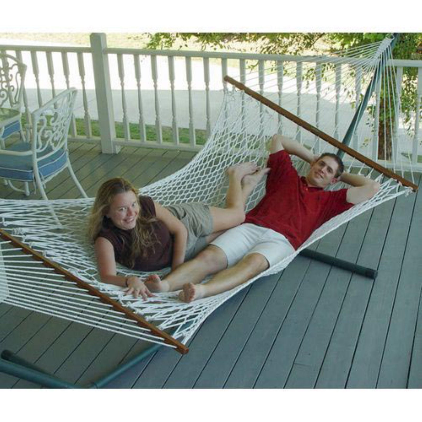 Island Bay 13 ft. XL Rope Double Hammock with Metal Stand
