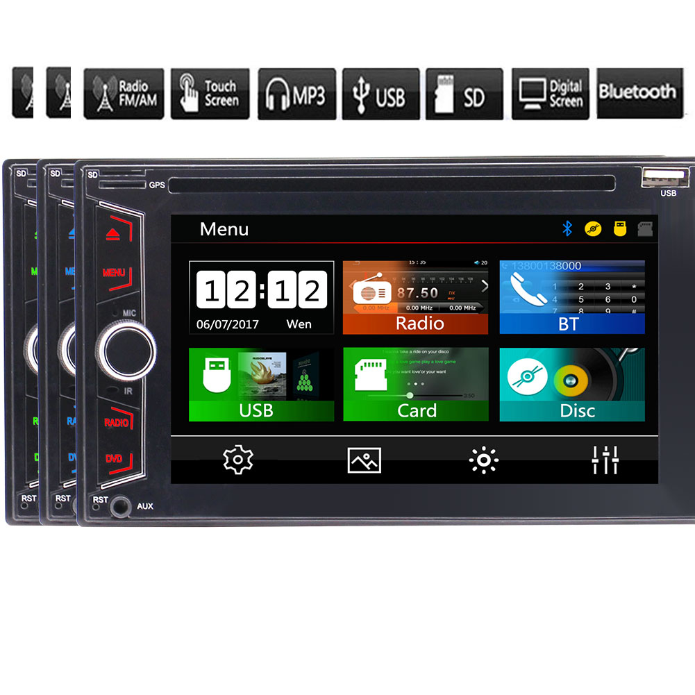 EinCar Car Stereo In Dash Double 2 Din Headunit with 6.2 Inch Capacitive Touch Screen Support DVD CD Player FM AM RDS Radio USB TF Card AUX Bluetooth +Remote Control (NO GPS Navigation)