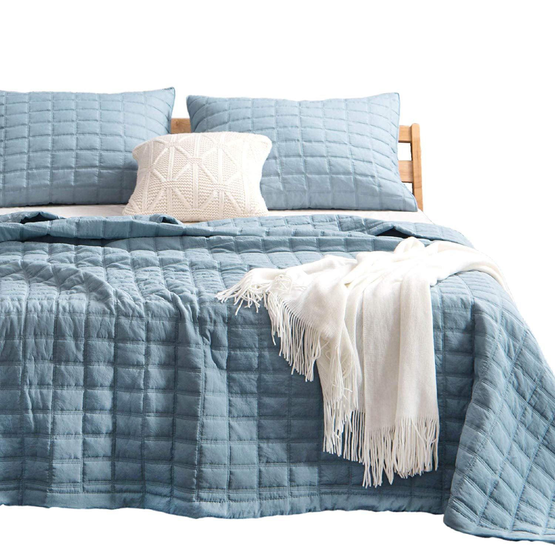Kasentex Quilt Bedding Coverlet Blanket Set Machine Washable Ultra Soft Lightweight Stone Washed Detailed Stitching Hypoallergenic Solid Color Oversized King 2 King Shams Grey Blue Walmart Com Walmart Com