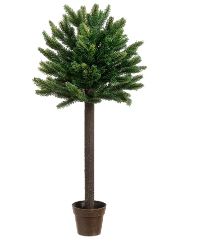 "27"" Potted Short Needle Balsam Pine Artificial Christmas Topiary Tree - Unlit"