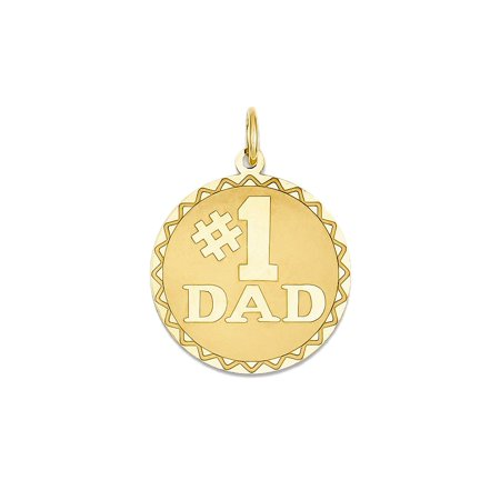 8996963f64ede Men's 14K Yellow Gold #1 Dad Medal Charm Pendant - 25mm