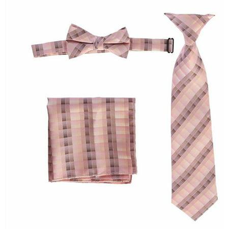 Boys Pink Plaid Striped Tie Bow Tie Pocket Square 3 Pc Accessory