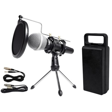 rockville dynamic podcasting podcast microphone w mic stand pop filter cables. Black Bedroom Furniture Sets. Home Design Ideas