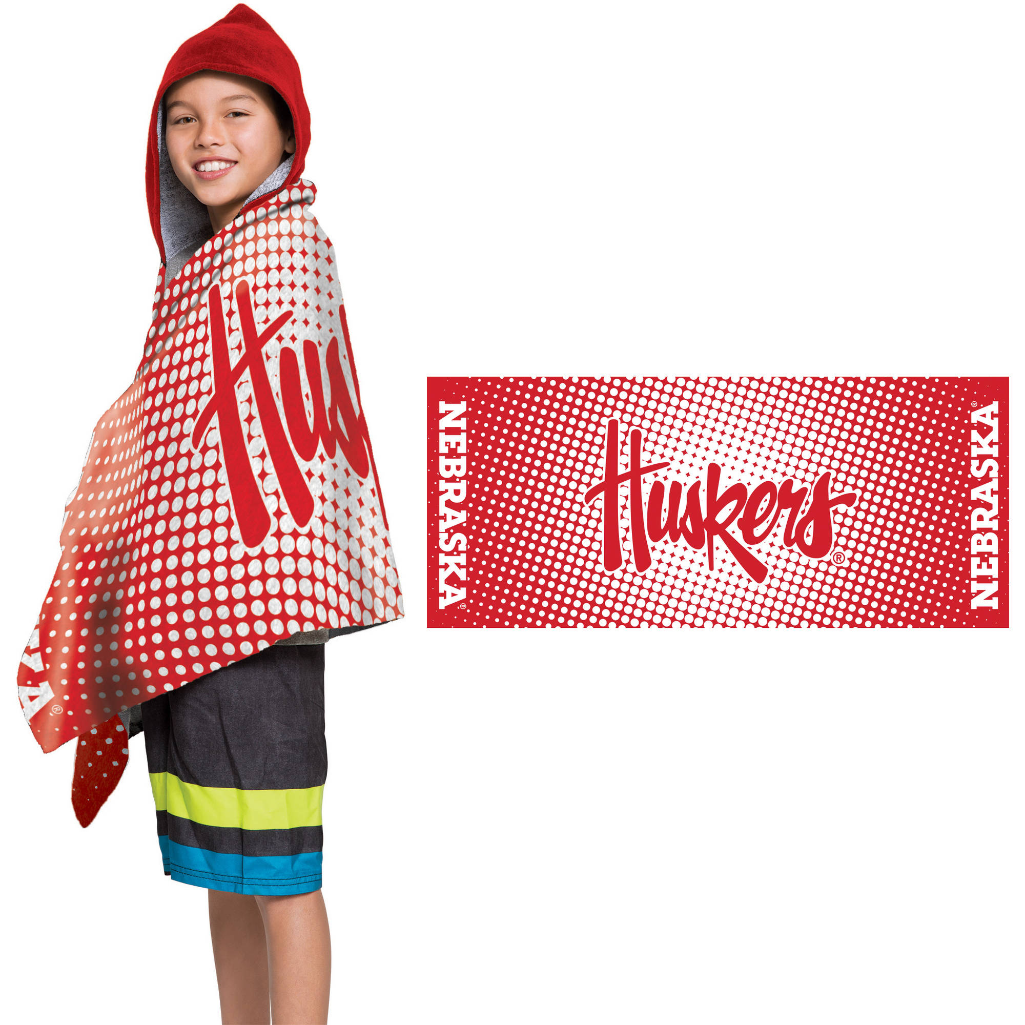"NCAA Nebraska Cornhuskers ""Dots"" Youth Terry Cloth Hooded Wrap Towel"