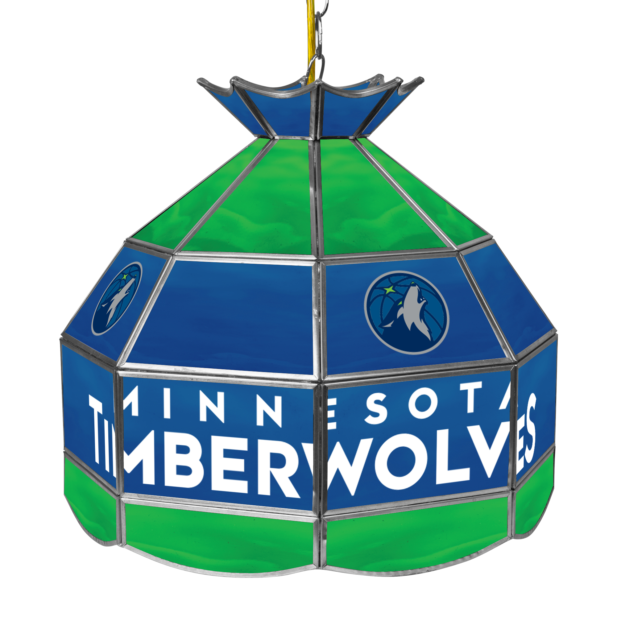 "Trademark Global Minnesota Timberwolves NBA 16"" Stained Glass Tiffany Lamp Light Fixture"
