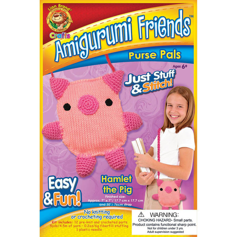 Lion Brand Amigurumi Friends Purse Pals Kit, Hamlet the Pig