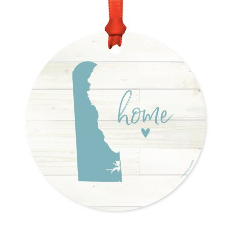 US State Round Metal Christmas Ornament, Rustic Light Wood Print, Delaware Home, Includes Ribbon and Gift - Party Store Delaware
