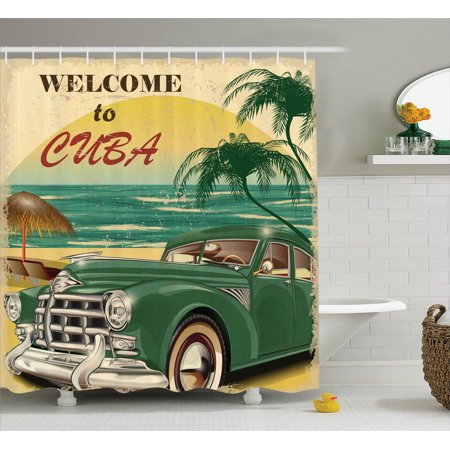 1950S Decor Shower Curtain Set, Nostalgic Welcome To Cuba Artsy Print With Classic Car Beach Ocean And Palm Trees, Bathroom Accessories, 69W X 70L Inches, By Ambesonne