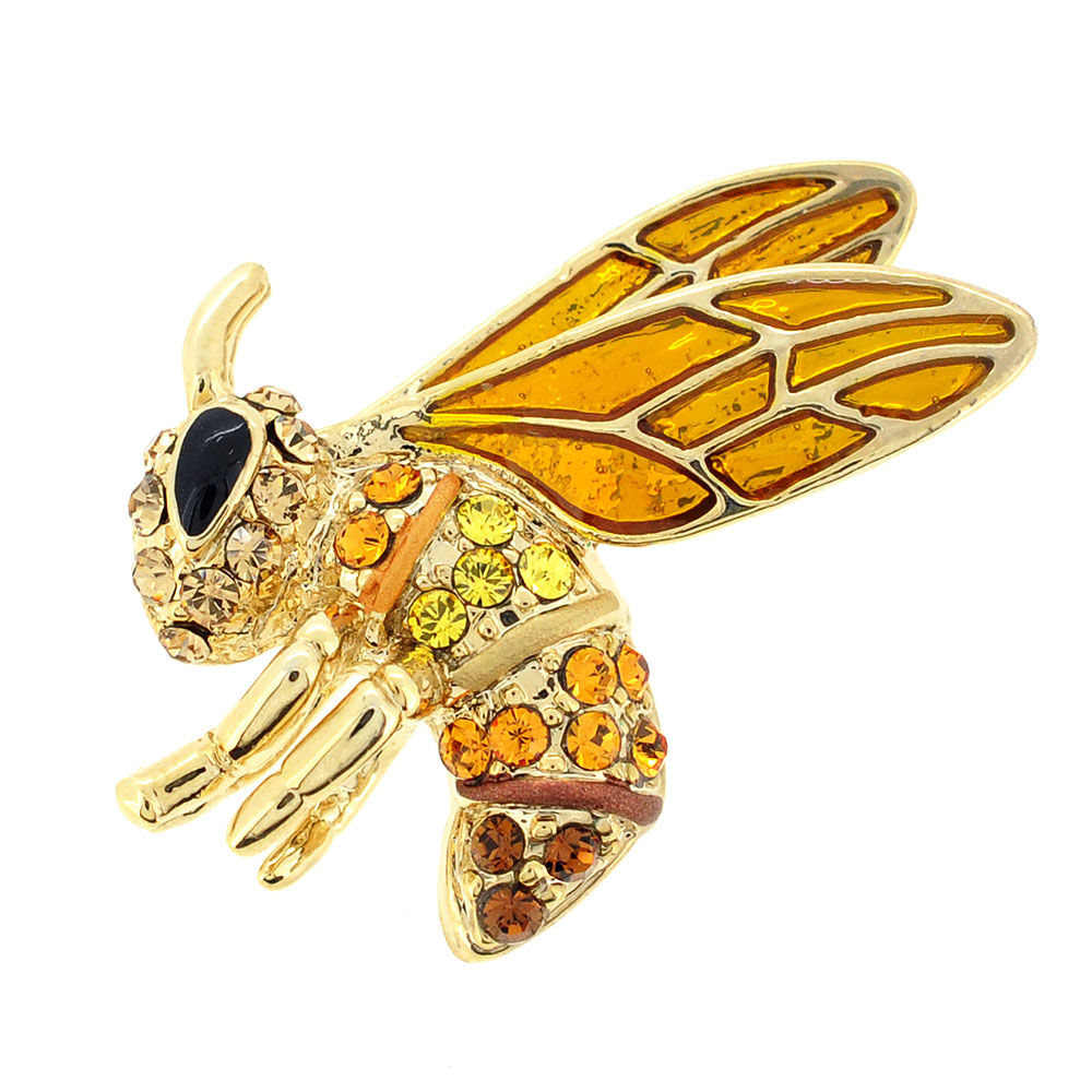 Topaz Brown Bee Swarovski Crystal Pin Brooch by