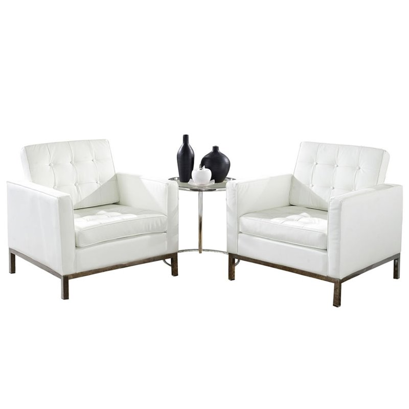 3-Pc Sofa Set in White