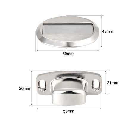 Floor Door Magnetic Stop Zinc Alloy Holder Stopper with Screws Silver Tone 2pcs - image 1 of 4