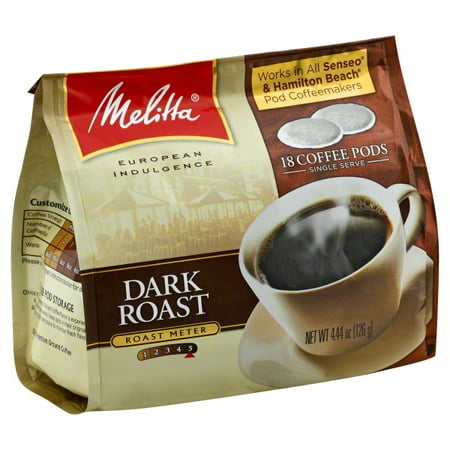 Melitta Dark Roast Coffee Pods for Senseo & Hamilton Beach Pod Brewers 18 ct Bag