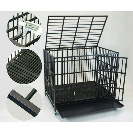 Homey Pet 43 Stackable Extra Strong Heavy Duty Dog Puppy Cage With Two Door Indoor Outdoor Kennel Plastic Grid