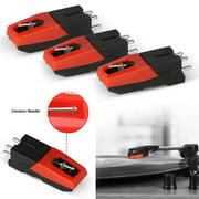 Record Player Turntable Cartridge Replacement Stylus Needles, Universal Diamond Replacement Stylus Needle fit for Vinyl LP Crosley Ion Jensen Phonograph (Needles 3pcs)