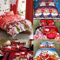 4Pcs Bedding Set Merry Christmas Duvet Quilt Cover Bed Sheet +2 Pillowcases Xmas Gifts