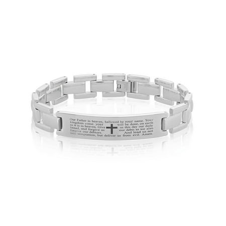 Prayer Bracelets (Stainless Steel Lord's Prayer ID Link Bracelet (12.5 mm) - 8.5)
