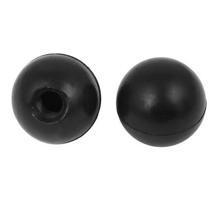Unique Bargains 2Pcs Plastic Shell M8x25mm Round Ball Lever Knob Machine Control Grip Black