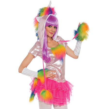 Rainbow Unicorn Rave Monster Hat Top Gloves Tutu Tail Womens Halloween Costume S