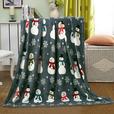 ultra plush christmas halloween themed fleece throw blankets assorted styles snowman snowflakes